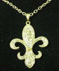 Special Rhinestone Fleur de Lis Necklace