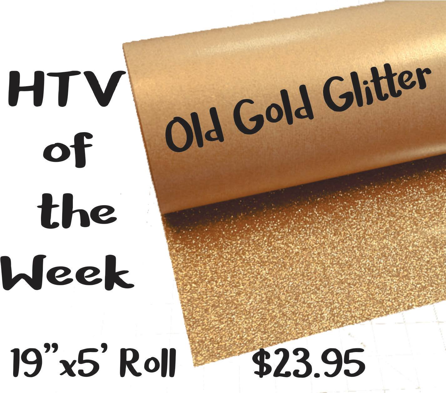 """Color of the Week - Old Gold Glitter 19"""" x 5' Roll HTV"""