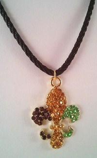 Mardi Gras Rhinestone Fleur de Lis Necklace