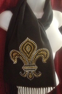 Black, Gold and Silver Fleur de Lis Scarf