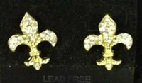 Special Rhinestone Fleur de Lis Earrings
