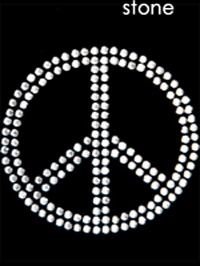 Small 4mm Rhinestone Peace Sign