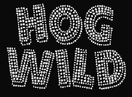 Hog Wild Biker Rhinestone Transfer