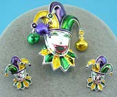 Mardi Gras Jester Pendant Brooch & Earrings