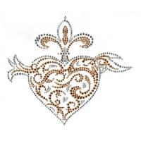 Fleur de Lis with  Heart Rhinestone/stud Transfer
