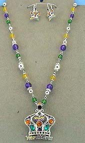 Mardi Gras Crown Necklace & Earrings