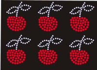 6 Mini Cherry Rhinestone Transfer Designs