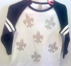 Girl's Sequin Scattered Fleur de Lis Shirt