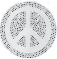 Reverse Peace Sign Rhinestone Motif