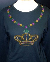 Mardi Gras Beads Shirt with Crown