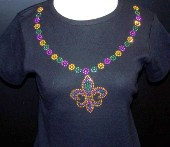Mardi Gras Beads Shirt with Fleur de Lis